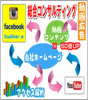 ウェブサイト・動画・SNSを活用した総合マーケティングのイメージ